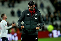 29th January 2020; London Stadium, London, England; English Premier League Football, West Ham United versus Liverpool; Liverpool Manager Jurgen Klopp celebrates the 0-2 win