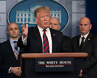 United States President Donald J. Trump speaks about border security in the White House briefing room in Washington, DC, January 3, 2019. Standing with Trump are members of agencies associated with border security.  <br /> CAP/MPI/RS<br /> &copy;RS/MPI/Capital Pictures