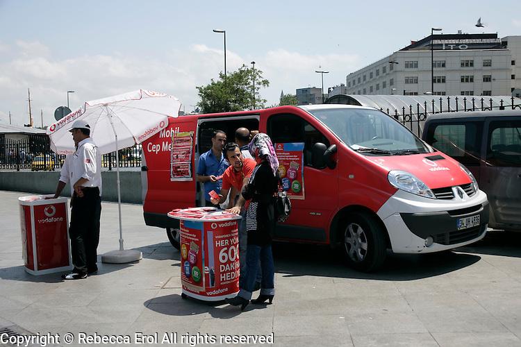 Vodafone promotion stand at Eminonu, Istanbul, Turkey