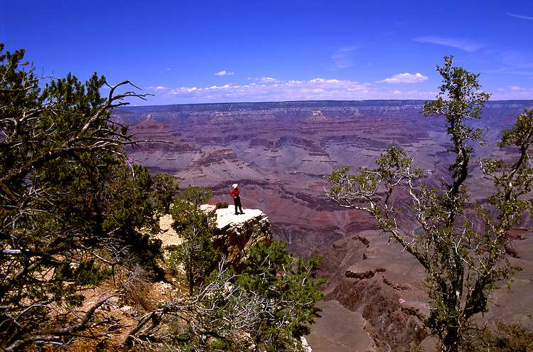 AZ, Grand Canyon National Park, Arizona, woman, model released, at the South Rim.Photo Copyright: Lee Foster, lee@fostertravel.com, www.fostertravel.com, (510) 549-2202.azgran233