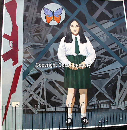 &quot;Death of Innocence&quot;,  a mural depicting Annette McGavigan, a 14 year-old schoolgirl killed in 1971 during the early years of &quot;The Troubles&quot; displayed on the side of an apartment complex called the Rossville Flats  in the Bogside, a neighborhood outside the city walls of Derry, Northern Ireland.<br />