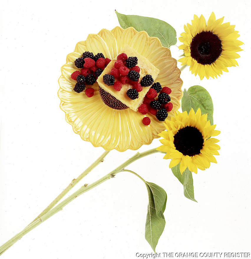 Traditional Cornbread served with berries. Portfolio only