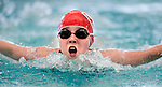 Life Centre's Nastassja Motro competes in the 25 yard fly race during the 53rd annual Country Club Swimming Championships on Tuesday, Aug. 7, 2012, in Kearns, Utah. (© 2012 Douglas C. Pizac)