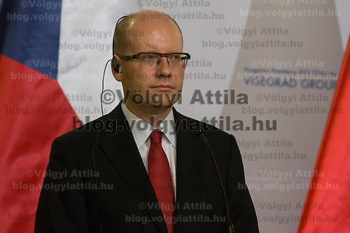 Bohuslav Sobotka newly appointed Prime Minister of Czech Republic talks during a press conference after the special meeting of the prime ministers of the Visegrad 4 Group in Budapest, Hungary on January 29, 2014. ATTILA VOLGYI