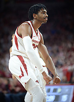 Arkansas guard Jimmy Whitt Jr. gestures Wednesday, Jan. 15, 2020, after a dunk during the first half against Vanderbilt  in Bud Walton Arena. Check out nwaonline.com/photos for a gallery from the game. (NWA Democrat-Gazette/Andy Shupe)