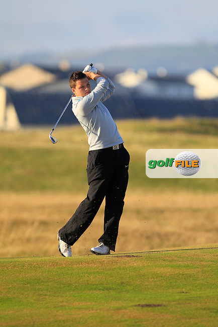 Dean McMahon (Castletroy) on the 1st fairway during the South of Ireland Amateur Open Championship First Round at Lahinch Golf Club  27th July 2013 <br /> Picture:  Thos Caffrey / www.golffile.ie