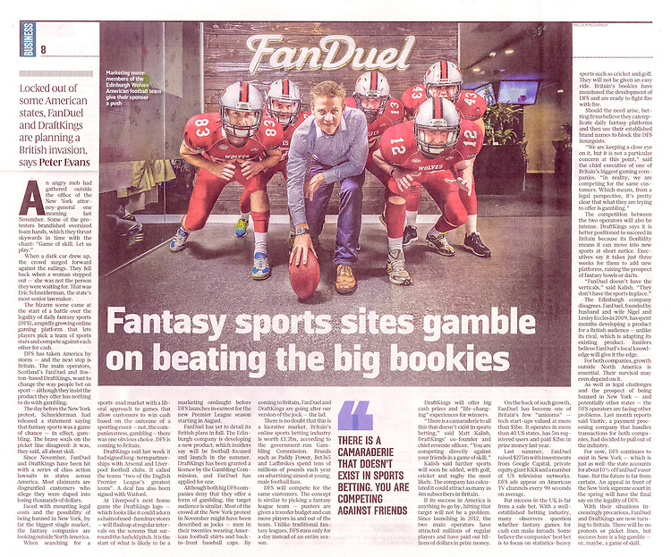 Pictured: Sponsor, Nigel Eccles (FanDuel), with members of Edinburgh Wolves American Football team in Sunday Times Business Supplement p8.<br /> <br /> Image by: Malcolm McCurrach<br /> Sun, 7, February, 2016 |  &copy; Malcolm McCurrach 2016 |  New Wave Images UK | Insertion and use fees apply |  All rights Reserved. picturedesk@nwimages.co.uk | www.nwimages.co.uk | 07743 719366 <br /> <br /> Event Photographer | Corporate Photographer | Editorial Photographer | Music Photographer
