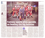 Pictured: Sponsor, Nigel Eccles (FanDuel), with members of Edinburgh Wolves American Football team in Sunday Times Business Supplement p8.<br /> <br /> Image by: Malcolm McCurrach<br /> Sun, 7, February, 2016 |  © Malcolm McCurrach 2016 |  New Wave Images UK | Insertion and use fees apply |  All rights Reserved. picturedesk@nwimages.co.uk | www.nwimages.co.uk | 07743 719366 <br /> <br /> Event Photographer | Corporate Photographer | Editorial Photographer | Music Photographer