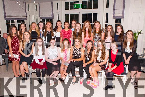 The Kerry U14 team that won the All Ireland final received their medals at the Kerry Ladies GAA awards night in the Killarney Oaks Hotel on Saturday night front row l-r: Muireann Moriarty, Erica o'Sullivan, Erika McGlynn, Niamh O'Connor, Labhoise Walmsley, Sophie lynch, Brid Ryan, Jayden lucey, Hannah O'Donoghue. Back row: Blathnaid Cotter, Ciara O'Sullivan, Georgia O'Dwyer, Grace Cahillane, Aoife O'callaghan, Jade Powell, Ciara Murphy, Laura Teahan, Anna O'Reilly, Kate Maher, Sinead Warren, Ciara O'Brien and Rachel fitzgerald