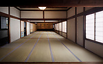 Traditional Japanese interior with tatami mats and painted shoji sliding screens in Sanbo-in, Sanboin, a Buddhist temple of Daigoji complex in Fushimi-ku, Kyoto, Japan