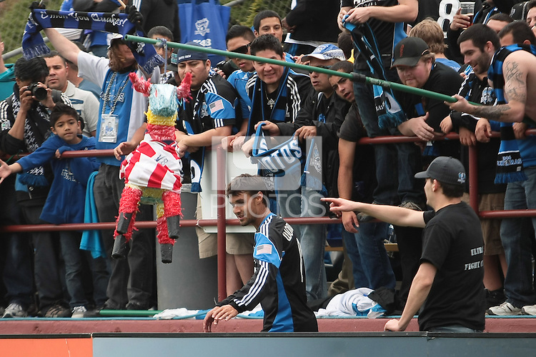 Fans hoist a pinata for Chris Wondolowski. Chivas USA defeated the San Jose Earthquakes 2-1 at Buck Shaw Stadium in Santa Clara, California on April 23rd, 2011.