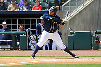Northwest Arkansas Naturals first baseman Samir Duenez (9) in action during a game against the Frisco RoughRiders at Arvest Ballpark on May 24, 2017 in Springdale, Arkansas.  The RoughRiders defeated the Naturals 7-6 in the completion of the game suspended on May 23, 2017.  (Dennis Hubbard/Four Seam Images)