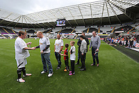 Pictured: Sunday 31 May 2015<br /> Re: Celebrities battling it out for the SwansAid trophy during a game at the Liberty Stadium in Swansea,  south Wales.<br /> Stars including X-Factor winner Shayne Ward, Olympic and Commonwealth silver medallist Jamie Baulch, and Blue star Antony Costa return to Swansea to play once again, with EastEnders actor Adam Woodyatt also back as the defending captain.