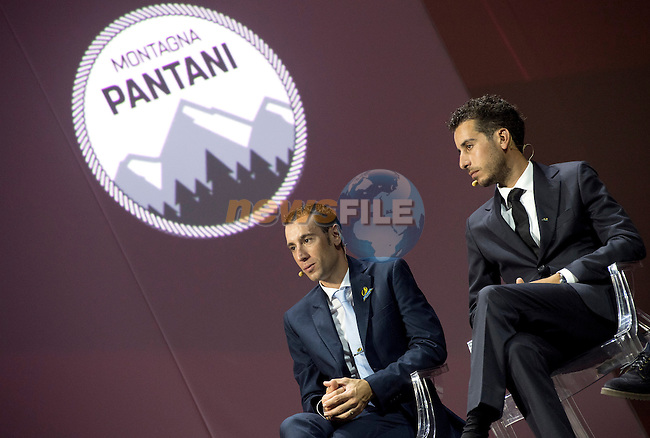 Defending Champion Vincenzo Nibali and Fabio Aru (ITA) on stage at the 100th edition Giro d`Italia 2017 route presentation held at the Ice Palace in Milan, 25th October 2016.<br /> Picture: ANSA/Claudio Peri | Newsfile<br /> <br /> <br /> All photos usage must carry mandatory copyright credit (&copy; Newsfile | ANSA/Claudio Peri)