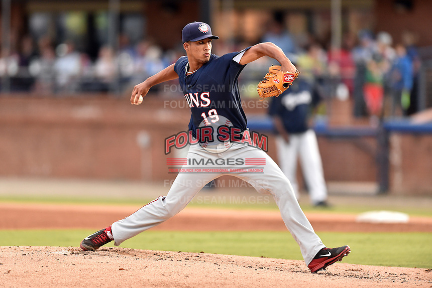 Hagerstown Suns starting pitcher Joan Baez (19) delivers a pitch during a game against the  Asheville Tourists at McCormick Field on September 4, 2016 in Asheville, North Carolina. The Suns defeated the Tourists 10-5. (Tony Farlow/Four Seam Images)
