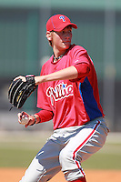 Philadelphia Phillies minor league pitcher Marek Minarik vs. the Pittsburg Pirates in an Instructional League game at Pirate City in Bradenton, Florida;  October 6, 2010.  Photo By Mike Janes/Four Seam Images