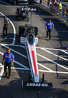 Sep 23, 2016; Madison, IL, USA; Crew members for NHRA top fuel driver Richie Crampton during qualifying for the Midwest Nationals at Gateway Motorsports Park. Mandatory Credit: Mark J. Rebilas-USA TODAY Sports