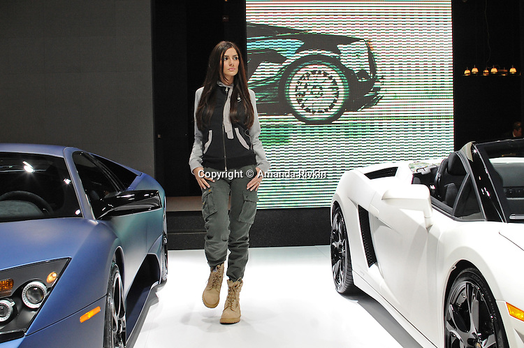 A model poses during the Lamborghini fashion show at the Detroit Auto Show in Detroit, Michigan on January 11, 2009.