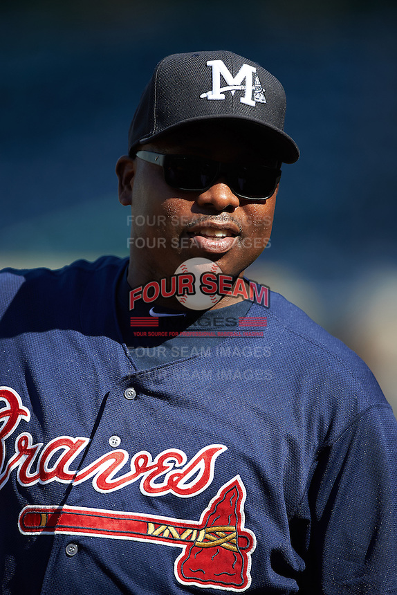 Mississippi Braves hitting coach Garey Ingram (33) during practice before a game against the Pensacola Blue Wahoos on May 28, 2015 at Trustmark Park in Pearl, Mississippi.  Mississippi defeated Pensacola 4-2.  (Mike Janes/Four Seam Images)