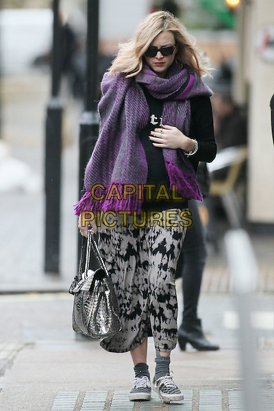 Fearne Cotton arrives for work, London, England..November 20th, 2012.full length pink purple scarf sunglasses shades hand arm black top white pattern print trousers silver bag purse tie dye grey gray socks shoes trainers sneakers pregnant .CAP/HIL.©John Hillcoat/Capital Pictures .