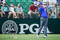 Grayson Murray (USA) watches his tee shot on 10 during Sunday's final round of the PGA Championship at the Quail Hollow Club in Charlotte, North Carolina. 8/13/2017.<br /> Picture: Golffile | Ken Murray<br /> <br /> <br /> All photo usage must carry mandatory copyright credit (&copy; Golffile | Ken Murray)