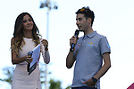 An injured Fabio Aru ( ITA) Astana with the Madrina Giorgia Palmas on stage at theTeam Presentation in Alghero, Sardinia for the 100th edition of the Giro d'Italia 2017, Sardinia, Italy. 4th May 2017.<br /> Picture: Eoin Clarke | Cyclefile<br /> <br /> <br /> All photos usage must carry mandatory copyright credit (&copy; Cyclefile | Eoin Clarke)