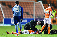 Blackpool's Nathan Delfouneso receives treatment<br /> <br /> Photographer Richard Martin-Roberts/CameraSport<br /> <br /> The EFL Sky Bet League One - Blackpool v Charlton Athletic - Tuesday 13th March 2018 - Bloomfield Road - Blackpool<br /> <br /> World Copyright &not;&copy; 2018 CameraSport. All rights reserved. 43 Linden Ave. Countesthorpe. Leicester. England. LE8 5PG - Tel: +44 (0) 116 277 4147 - admin@camerasport.com - www.camerasport.com