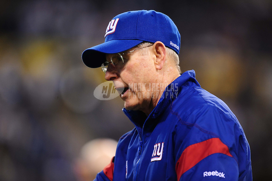 Feb 5, 2012; Indianapolis, IN, USA; New York Giants head coach Tom Coughlin before Super Bowl XLVI against the New England Patriots at Lucas Oil Stadium.  Mandatory Credit: Mark J. Rebilas-