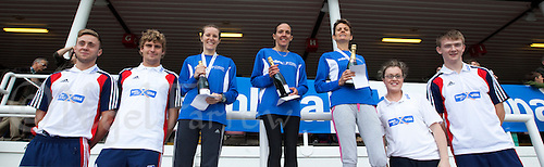 09 SEP 2011 - CHESTER, GBR - MBNA Chester Marathon women's winner Debbie Mason (centre) celebrates her victory with bronze medalist Sarah Lomas (third from left) and silver medalist Liz Hartney (third from right) and the Visa Team 2012 competitors.(PHOTO (C) NIGEL FARROW)