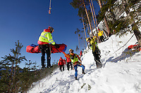 Watching a demonstration, Air Ambulance crews from various countries meet at &quot;CampEurope&quot;, Torpomoen in Norway,  to exchange ideas and learn from each other.<br /> Norwegian Air Ambulance Foundation is host for the event.