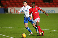 Joe Dodoo of Charlton takes on the Portsmouth defence during Charlton Athletic vs Portsmouth, Checkatrade Trophy Football at The Valley on 7th November 2017