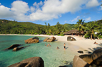 Seychelles, Island Mahe, Anse Takamaka: people at the beach