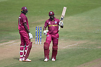 Andre Russell (West Indies)acknowledges his half century scored off 23 deliveries and calls for a new bat during West Indies vs New Zealand, ICC World Cup Warm-Up Match Cricket at the Bristol County Ground on 28th May 2019