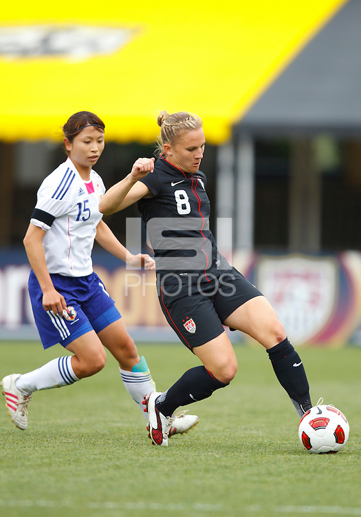 14 MAY 2011: Japan National team Aya Samesh and USA Women's National Team forward Amy Rodriguez (8) during the International Friendly soccer match between Japan WNT vs USA WNT at Crew Stadium in Columbus, Ohio.