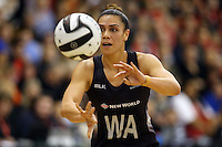 14.09.2016 Silver Ferns Grace Rasmussen in action during the Taini Jamison netball match between the Silver Ferns and Jamaica played at Arena Manawatu in Palmerston North. Mandatory Photo Credit ©Michael Bradley.