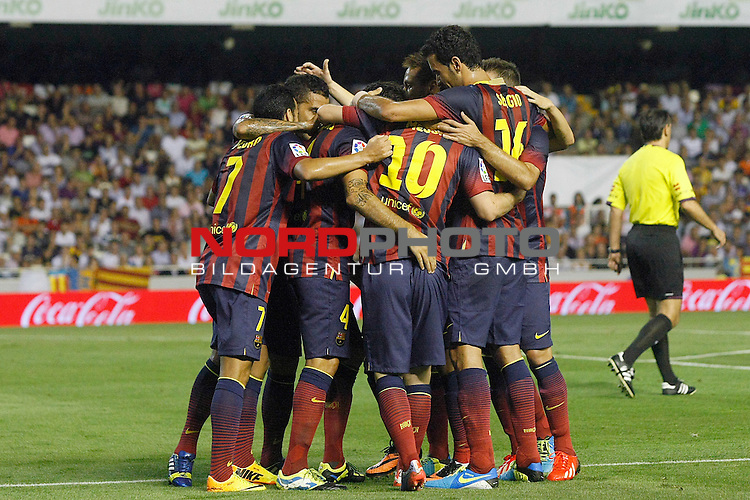 FC Barcelona's players celebrate goal during La Liga match.September 1,2013. Foto © nph / Acero)