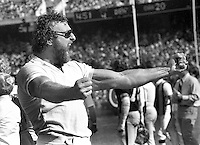 Oakland Raiders John Matuszak on the sideline cheering for the team. (1979 photo/Ron Riesterer}