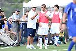 04 September 2011: Duke head coach John Kerr, Jr. (left) talks to Jan Trnka-Amrhein. The Southern Methodist University Mustangs defeated the Duke University Blue Devils 1-0 in overtime at Koskinen Stadium in Durham, North Carolina in an NCAA Division I Men's Soccer game.