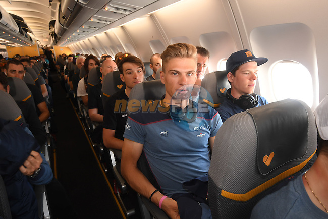 New race leader Marcel Kittel (GER) and Etixx-Quick Step team pictured on their way from Amsterdam to the airport at Lamezia Terme in the far south of Italy, and then Catanzaro, the start town for Stage 4 tomorrow, The Netherlands. 9th May 2016.<br /> Picture: ANSA/Claudio Peri | Newsfile<br /> <br /> <br /> All photos usage must carry mandatory copyright credit (&copy; Newsfile | ANSA/Claudio Peri)