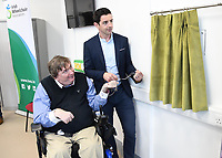 Former Kerry footballer and  Dancing with the Stars winner Aidan O&Otilde;Mahony and IWA Service Coordinator Terry O&Otilde;Brien at the opening of the Irish Wheelchair Association new Community Centre at The Reeks Gateway, Killarney on Friday. <br />Picture: macmonagle.com