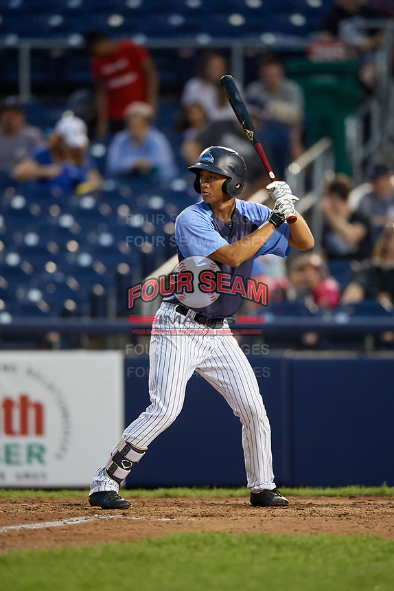 Trenton Thunder third baseman Gosuke Katoh (19) at bat during a game against the New Hampshire Fisher Cats on August 19, 2018 at ARM & HAMMER Park in Trenton, New Jersey.  New Hampshire defeated Trenton 12-1.  (Mike Janes/Four Seam Images)