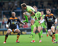 High Wycombe, England. James Wilson of Northampton Saints wins a high ball during the Aviva Premiership match between Wasps and Northampton Saints at Adams Park on September 14, 2014 in High Wycombe, England.