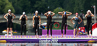 09 AUG 2012 - LONDON, GBR - Competitors line up on the pontoon for the start of the London 2012 Olympic Games women's 10km Marathon Swimming in Hyde Park, London, Great Britain .(PHOTO (C) 2012 NIGEL FARROW)