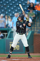Mason Martin (35) of the Ocelotes de Greensboro at bat against the Hickory Crawdads at First National Bank Field on June 11, 2019 in Greensboro, North Carolina. The Crawdads defeated the Ocelotes 2-1. (Brian Westerholt/Four Seam Images)