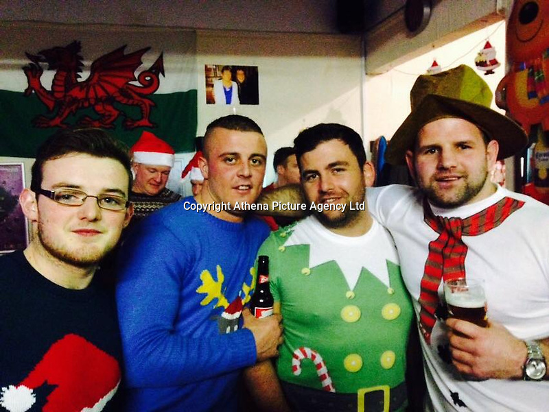 "Pictured: Gavin Rees (2nd L)<br /> Re: 24-year-old Gavin Rees died after being punched with ""a hell of a whack"" in a car park, a jury was told at Cardiff Crown Court.<br /> The court heard how doorman Jeffrey Shepherd, 45, of Llanharry, hit Mr Rees near Maesteg Community Hospital in Wales, UK.<br /> Mr Shepherd allegedly punched Mr Rees, a scaffolding company directory, in an incident which was ""completely out of order"".<br /> Mr Shepherd claims he was acting in self defence and denies manslaughter."