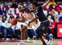 College Park, MD - NOV 13, 2017: Maryland Terrapins guard Kaila Charles (5) is defended by South Carolina Gamecocks guard Doniyah Cliney (4) during game between No. 4 ranked South Carolina and the No. 15 Maryland Terrapins at the XFINITY Center in College Park, MD. The Gamecocks defeated Maryland 94-86.  (Photo by Phil Peters/Media Images International)