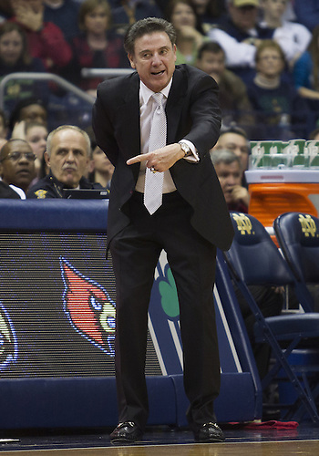 February 09, 2013:  Louisville head coach Rick Pitino during NCAA Basketball game action between the Notre Dame Fighting Irish and the Louisville Cardinals at Purcell Pavilion at the Joyce Center in South Bend, Indiana.  Notre Dame defeated Louisville 104-101 in five overtimes.