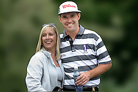 Padraig Harrington, professional golfer, Rep of Ireland, with wife, Caroline. .Ref: 2001062633m. Taken at Murphy's Irish Open Golf event at Fota Island between 26 and 28 June 2001.<br />