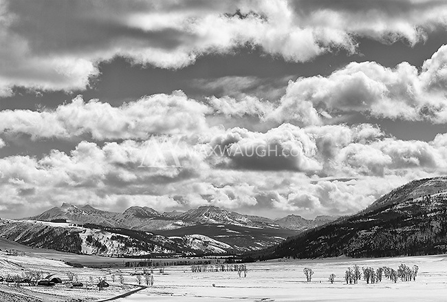 The Lamar Valley on a winter day.  This is a stitched composite image.  Also available in color.