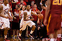 December 3, 2012: Ray Gallegos (15) of the Nebraska Cornhuskers dribbling the ball down court against the USC Trojans at the Devaney Sports Center in Lincoln, Nebraska. Nebraska defeated USC 63 to 51.